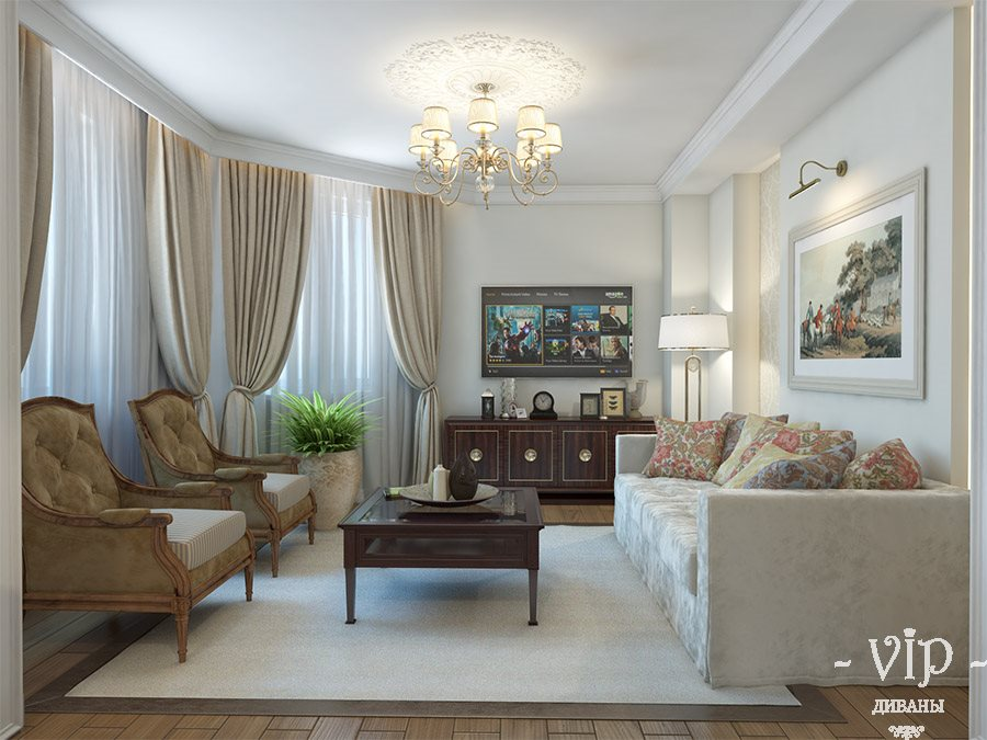 Классический интерьер с диванов и креслами