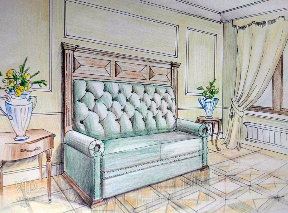 Скетч (эскиз от руки) Сталинского дивана