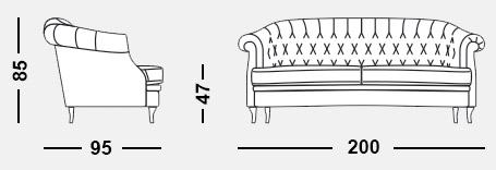 Габариты дивана MIO Classic