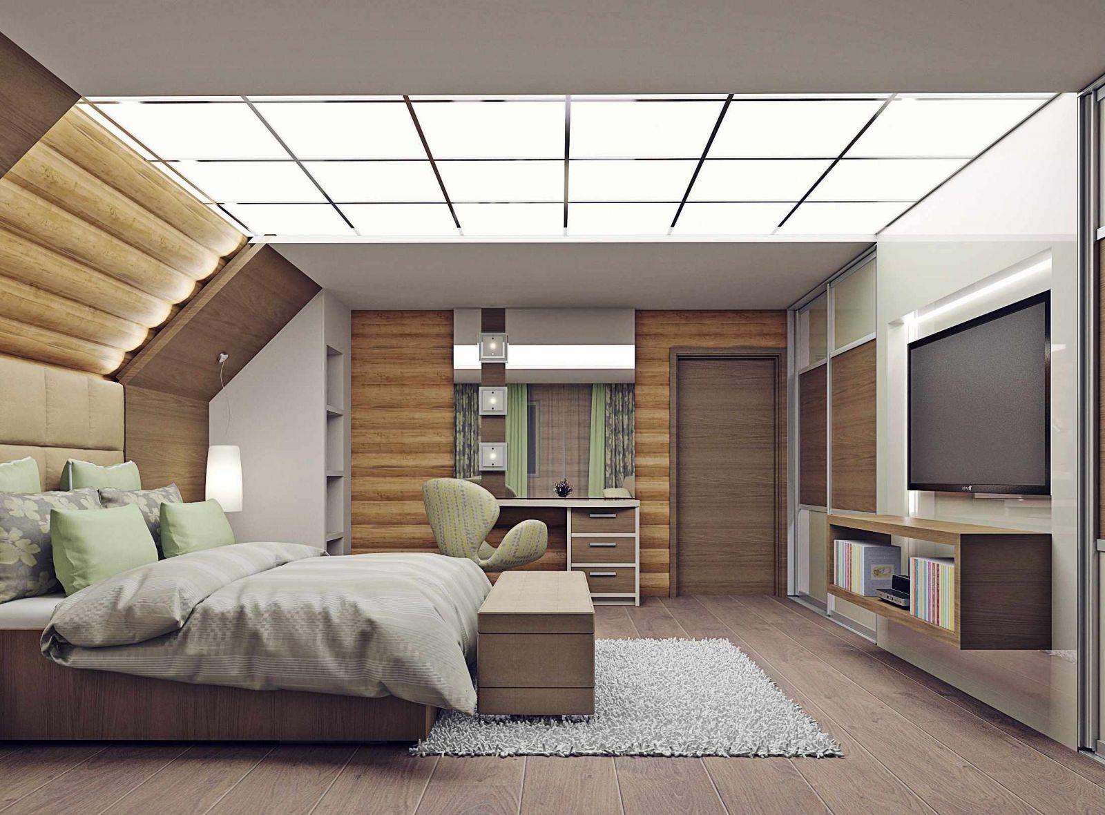 Мансарда со скошенным потолком
