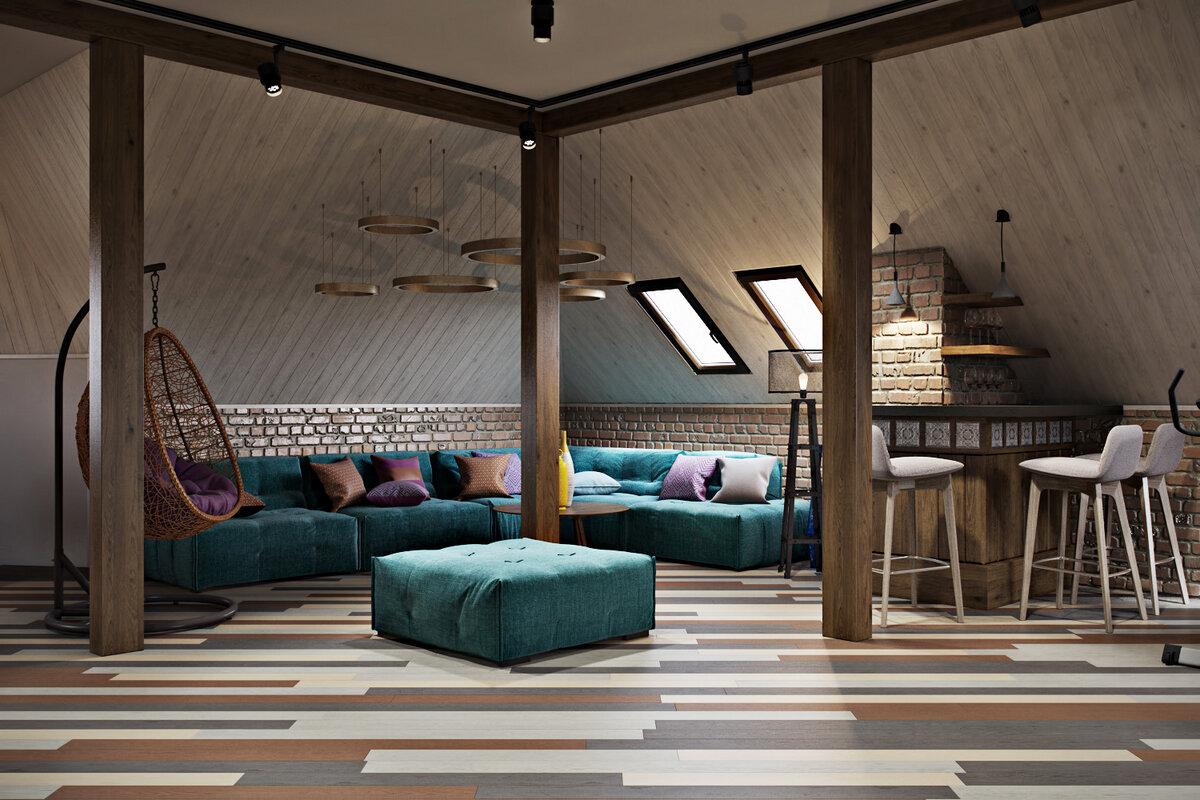 дизайн комнаты отдыха в мансарде