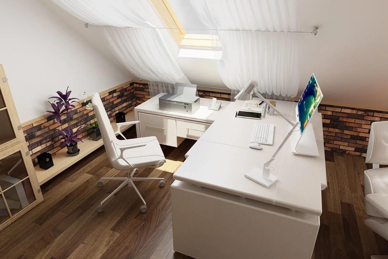 Дизайн интерьера мансарды - домашний кабинет