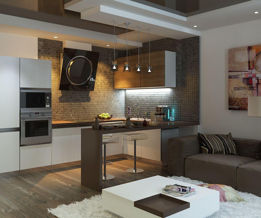 Зал совмещенный с кухней
